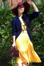 Yellow-labu-labu-dress-maroon-floppy-h-m-hat