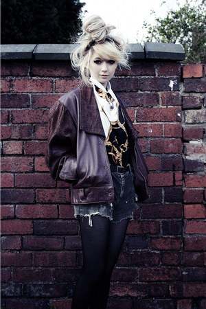 maroon leather unknown jacket