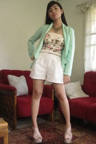 mint House of Eva blazer - white lace Beehive shorts