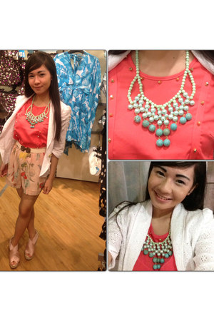 white eyelet Candies blazer - peach H & M shorts