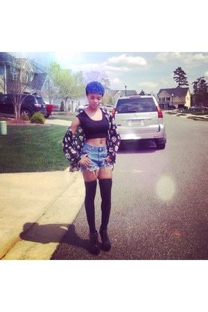 black knee high tights - blue high waist shorts