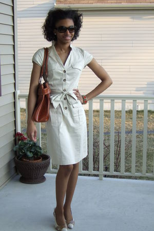beige H&M dress - beige ann taylor shoes - brown Target accessories - orange H&M