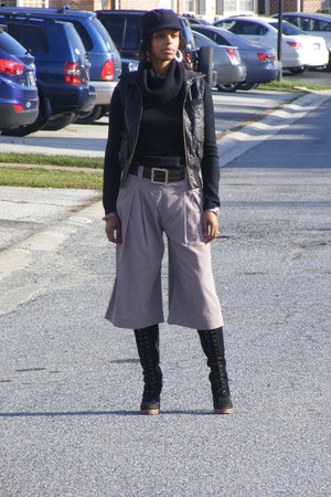 black suede Michael Kors boots - cowl neck Gap sweater - French Connection pants