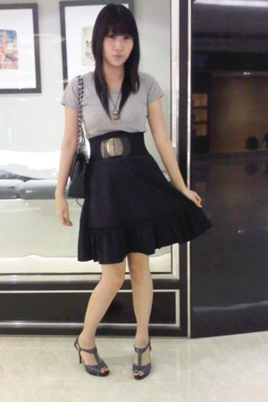 random shirt - random skirt - random belt - Charles &amp; Keith shoes - Chanel purse
