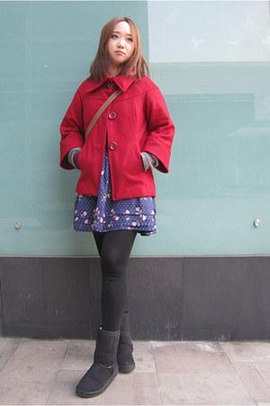 black Vans boots - ruby red Forever21 coat - blue Forever21 skirt
