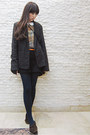 Gray-forever-21-blazer-navy-tights-black-h-m-pants