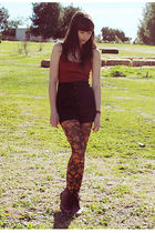 red Forever 21 skirt - black Forever 21 shorts - brown London Tights tights - re