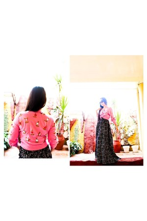 sequined cardigan - floral maxi dress