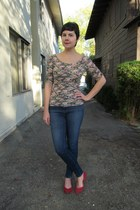 pink Forever 21 top - blue J Brand jeans - red Aldo flats