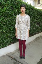 cream Heavenly Couture dress - maroon HUE tights - black seychelles flats