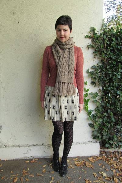 tan J Crew scarf - brick red thrifted sweater - black Urban Outfitters tights