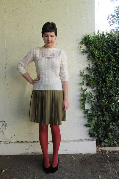 cream thrifted vintage sweater - burnt orange Target tights