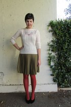 cream thrifted vintage sweater - burnt orange Target tights