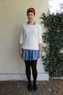 Blue-forever-21-dress-white-forever-21-sweater-black-target-tights