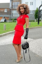 red 2NU dress - black 2NU gloves - brown 2NU heels