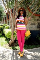 mustard 2NU top - hot pink 2NU pants