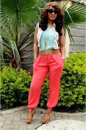 salmon 2NU pants - aquamarine 2NU top - tawny Newlook heels