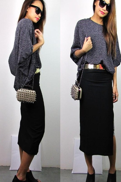 black 2amstyles belt - heather gray 2amstyles purse - black 2amstyles skirt