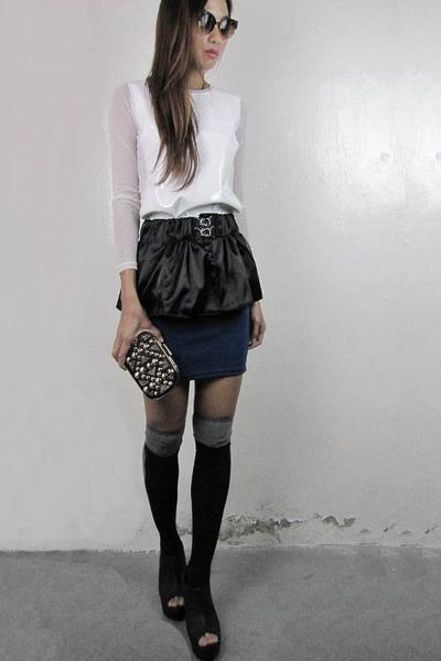 black 2amstyles belt - navy slim cotton 2amstyles shirt - black 2amstyles bag