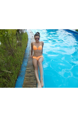 orange New Yorker swimwear - mirorr purple New Yorker glasses