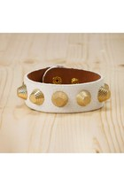 Celine Gold Studded Faul Leather Wrap Bracelet