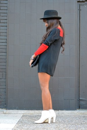 white Zara boots - red asos dress - black H&M hat