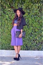 blue vintage top - black fama shoes - black Promod jacket - violet vintage pants
