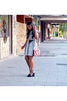 black Zara shoes - light blue vintage dress - bubble gum Guess bag