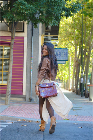 crimson vintage jacket - brown fama boots - cream collection dress