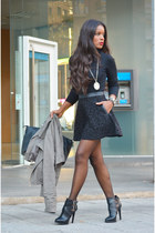 black Lefties skirt - black Zara boots - heather gray Zara jacket