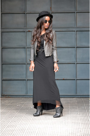 Zara boots - Zara dress - black H&M hat - heather gray BLANCO jacket