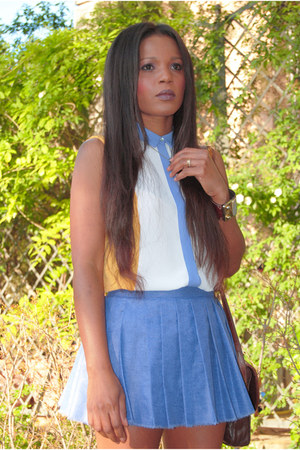 gold Zara shirt - sky blue DIY skirt