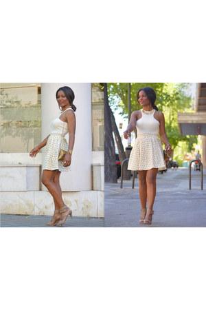 neutral DIY skirt - bronze vintage bag - off white el corte ingles top