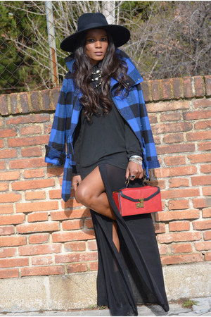 black Zara boots - black H&M hat - blue Topshop jacket - red Primark bag