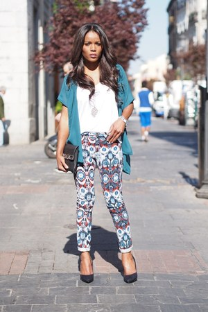 teal DIY cardigan - white Zara t-shirt - red Zara pants