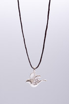 Symbol necklace- sterling silver 925 pendant on leather cord- CONGRATULATIONS 40