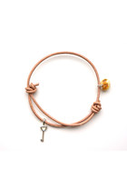 Silver key and amber bracelet, leather cord