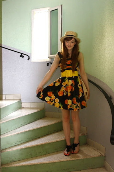 Primark dress - boater hat H&amp;M hat - straw clutch H&amp;M bag - Topshop sandals
