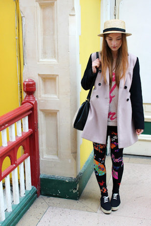 hot pink floral leggings Versace H&amp;M leggings - beige DP coat