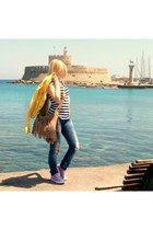 blue salsa jeans - yellow Zara jacket - nude Gap bag - light purple Converse sne