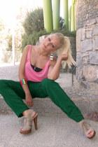 pink Bershka blouse - green Zara pants - beige Mango heels