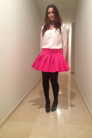 hot pink neopreno H&M skirt - black Mango shoes