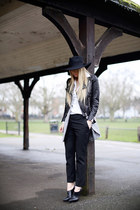 black Jimmy Choo shoes - black H&M hat - black H&M jacket - white Zara shirt