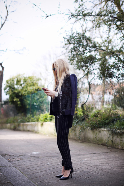 black weekday pants - navy Marni x H&M jacket - white COS shirt