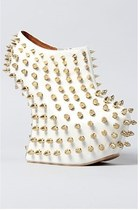 JEFFREY CAMPBELL SHADOW STUD - WHT/GOLD