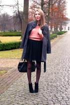 black asos boots - black sheer tulle Vila dress - gray coat