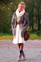 knitted Cubus cardigan - New Yorker boots - sheer H&M dress - Vero Moda jacket