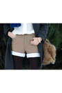 Camel-vintage-shorts-bronze-laced-up-primark-boots-charcoal-gray-coat