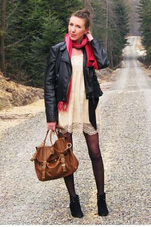 cream sheer lace Atmosphere dress - black Orsay jacket - ruby red scarf - burnt