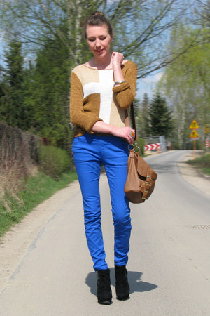 bronze cross sweater - blue F&amp;F pants - black Primark wedges